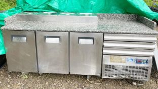 1 x Desmon Pizza Prep Counter With Three Door Refrigeration, Granite Work Top and Stainless Steel