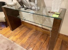1 x Glass Topped Consul Table with Ostrich Leather Upholstered Side Panels - NO VAT ON THE HAMMER