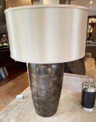 1 x Table Lamp With A Woven-style Base With A Bronze Finish, And Silk Shade