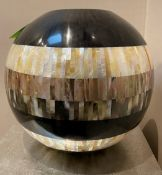 1 x Decorative Sphere With Mother Of Pearl-style Inlay - Dimensions: Height 34cm / Diameter 40cm -
