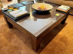 1 x Large Glass Topped Coffee Table With a Solid Wood Table - Dimensions: 150 x 120 x 48cm