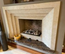 1 x Stone Fireplace Surround With Marble Hearth - Ref: SGV125-A/GF-Ent - CL672 - NO VAT ON HAMMER