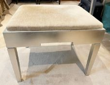 1 x Dressing Room Stool With An Upholstered Seat And Silver Painted Finish - Dimensions: 58x48x55cm