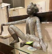 1 x Large Ornate DressedBudha Statue In A Sitting Pose - Dimensions: H57 x W60cm x D30cm