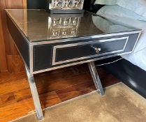 2 x Black Leather and Chrome Bedside Tables With Soft Closing Drawer, And Protective Glass To