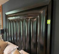 1 x Luxury Black Leather Headboard With Chrome Trim And Black Wood Frame - Dimensions: W212xH150cm