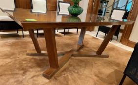 1 x Glass -Topped 2-Metre Long Dining Table In Walnut - Dimensions: 200 x 111 x H77cm - NO VAT