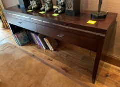 1 x Solid Wood 2-Metre Long Console Unit With 2 x Drawers With Silver Detailing