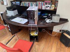 1 x Bespoke Fitted Solid Wood Office Suite With 5-Door SideboardStorage AndSemicircular Wooden