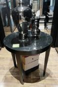 1 x Elegant Round Black Contemporary Table with Glass Top - Dimensions: Diameter 80cm / Height: 70cm