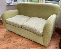 1 x Richly Upholstered 2-Seater Sofa In A Pale GreenChenille - NO VAT ON THE HAMMER