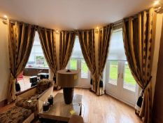 3 x Sets Of Bespoke Premium Quality Lined Curtains In Gold With A Leaf Design - 285cm Drop