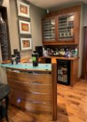 1 x Bespoke Fitted Curved Bar Area In Cherry Wood With A Frosted Glass Counter - NO VAT