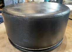 1 x Round Black Large Dressing Seat UpholsteredOstrich Leather- Diameter 112cm/Height 55cm