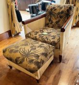 1 xDONGHIA Designer Colonial-style Cane Chair With Matching Footstool And Upholstered Cushions