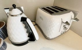 1 x DELONGHI Electric Kettle And 4-Slice Toaster Set In White And Chrome - Ref: SGV133/KIT - CL672 -