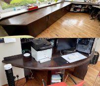 1 x Bespoke Fitted Solid Wood Office Suite With 5-Door SideboardStorageAndSemicircular Desk