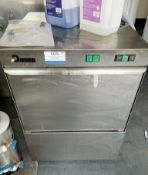 1 x D Wash Commercial Undercounter Dishwasher - Model DW009C - 240v Power With Stainless Steel