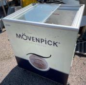 1 x Ice Cream Refrigerator With Sliding Top Doors and Movenpick Branding -CL667 - Location: