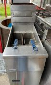 1 x Pitco Gas Fired Single Tank Fryer With Baskets -CL667 - Location: Brighton, Sussex,
