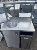 1 x Stainless Steel Hand Wash Station With Automatic Tap and Waste Bin Chute-CL667 - Location: