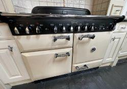 1 x RANGEMASTER ELAN 110 Dual Fuel Kitchen Range Cooker In Cream, Black And Chrome - Dimensions: 110