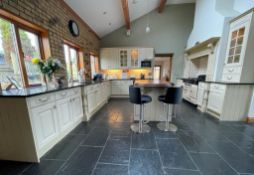 1 x Solid Wood Hand Painted Fitted Kitchen With Contemporary Island and Granite Worktops - NO VAT ON