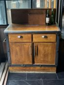 1 x Bespoke Waiter / Waitress Service Station With an Oak Finish and Industrial Style Metalwork -