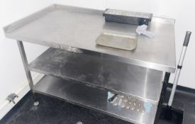 1 x Stainless Steel Corner Prep Table With Upstand and Undershelves - Dimensions: H90 x W140 x D75