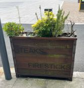 2 x Outdoor Wooden Planter With Live Plants - Size H90 x W121 x D41 cms- CL674 - Location: Telford,