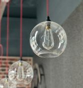 7 x Suspended Ceiling Pendant Lights With Clear Glass Shades -CL674 - Location: Telford,