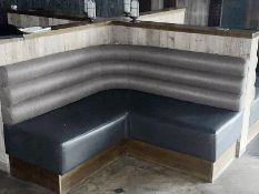 4 x Corner Seating Benches Upholstered in Two Tone Grey Leather and Fabric - Dimensions: 245 x 130