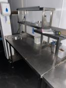 1 x Stainless Steel Prep Table With Hand Wash Basin, Shelves, and Ticket Rail - Dimensions: H90 x