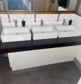 1 x Bathroom Sink Unit With Three Ceramic Countertop Sink Basins and Mixer Taps - Dimensions H120