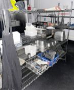 1 x Commercial Kitchen Storage Shelf - Contents Included - Dimensions: H184 x W180 x D40 cms- CL674
