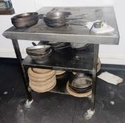 1 x Stainless Steel Prep Table With Undershelf and Castor Wheels - Includes Contents - Dimensions:
