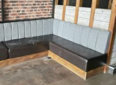 1 x Long Corner Seating Bench With Brown Leather Seats and Grey Backrests - Comes in Multiple