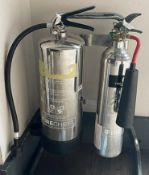 4 x Chrome Fire Extinguishers With Stands - CL674 - Location: Telford, TF3Collections:This item is