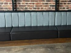 1 x Long Seating Bench With Brown Leather Seats and Grey Backrests - Comes in Four Sections For Easy