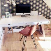 1 x Blue Suntree Ellwood Trestle Desk With a White Finish, Oak Legs and Three Storage Drawers -