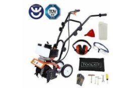 1 x High Performance 52cc Petrol Garden Cultivator - Mini Garden Tiller & Rotavator - Brand New