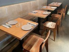 4 x Square Bistro Tables Featuring Wooden Tops And Sturdy Metal Bases - Dimensions To Follow -