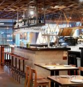 4.3 Metre Long Restaurant Bar With Black Granite Counter Top, Stainless Steel Back-Bar + Glass Rack