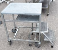 1 x Mobile Packers / Shelf Stacker Trolley With Pull Out Steps - Recently Removed From Major Superma