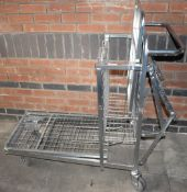 1 x Supermarket Retail Merchandising Trolley With Pull Out Step and Folding Shelf - CL595 - Ref: CCA