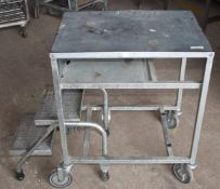 1 x Mobile Work Table With Fold Out Steps - Ideal For Shelf Stackers or Storage Room Steps -