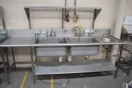1 x Stainless Steel Commercial Wash Basin Unit With Twin Sink Bowl, Mixer Taps, Undershelf, Upstands