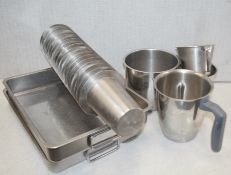 1 x Assorted Collection of Stainless Steel Trays, Jugs, Cups and Mixing Bowls For Commercial