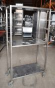 1 x Stainless Steel Two Tier Shelf Unit With Castor Wheels - Dimensions: H170 x W90 x D45 cms -