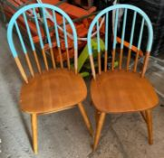 22 x Restaurant Dining Chairs - Contemporary Colourful Design With Wooden Finish and Part Painted in